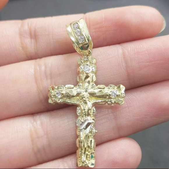 727162efa5006 Real Diamond and Solid Gold Nugget Crucifix Cross